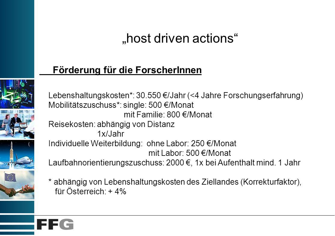 host driven actions Förderung für die ForscherInnen Lebenshaltungskosten*: 30.550 /Jahr (<4 Jahre Forschungserfahrung) Mobilitätszuschuss*: single: 50