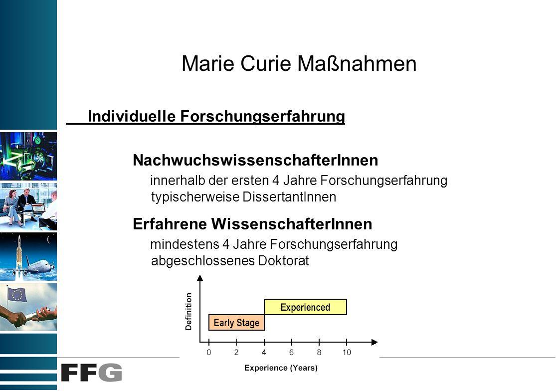 Marie Curie Maßnahmen NachwuchswissenschafterInnen innerhalb der ersten 4 Jahre Forschungserfahrung typischerweise DissertantInnen Erfahrene Wissensch