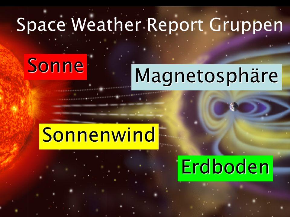 Space Weather Report Gruppen Sonne Sonnenwind Magnetosphäre Erdboden