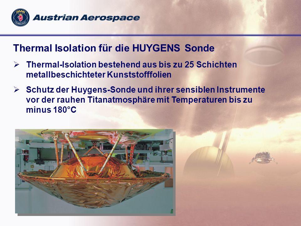 Thermal Isolation für die HUYGENS Sonde Thermal-Isolation bestehend aus bis zu 25 Schichten metallbeschichteter Kunststofffolien Schutz der Huygens-Sonde und ihrer sensiblen Instrumente vor der rauhen Titanatmosphäre mit Temperaturen bis zu minus 180°C