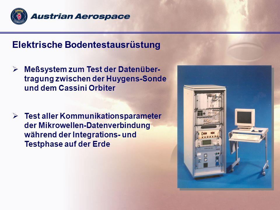 Mechanische Bodentestausrüstung Austrian Aerospace Lieferungen: Integrationswagen Transport Container Hebevorrichtung Montage-Adapter Huygens-Sondenparameter: Durchmesser: 3 m Gesamtgewicht: 375 kg