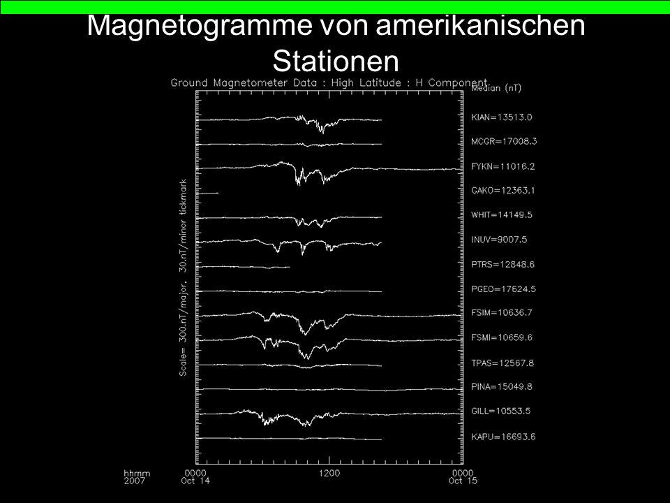 Magnetogramme von amerikanischen Stationen