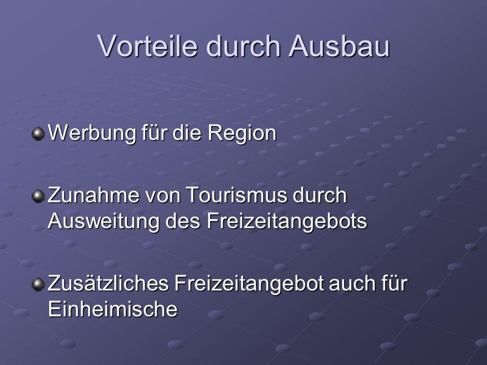 Vorteile durch Ausbau Werbung für die Region Zunahme von Tourismus durch Ausweitung des Freizeitangebots Zusätzliches Freizeitangebot auch für Einheimische