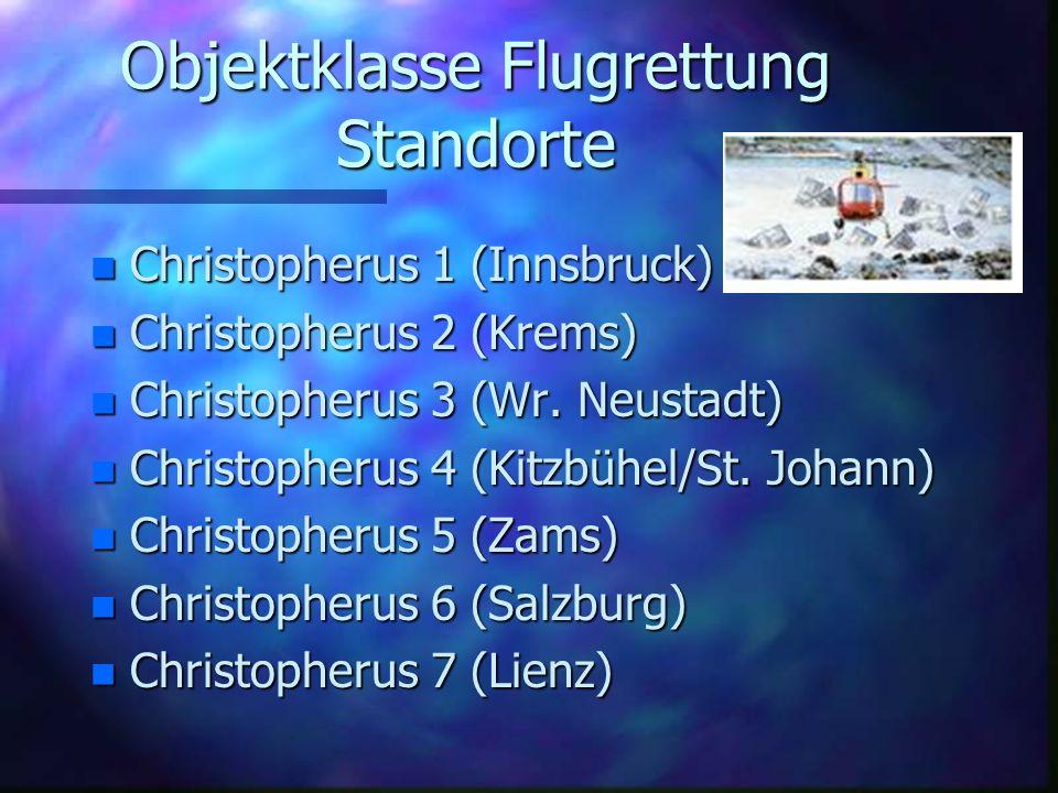 Objektklasse Flugrettung Standorte nCnCnCnChristopherus 1 (Innsbruck) nCnCnCnChristopherus 2 (Krems) nCnCnCnChristopherus 3 (Wr.