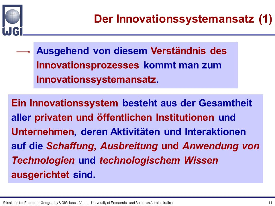 © Institute for Economic Geography & GIScience, Vienna University of Economics and Business Administration 11 Der Innovationssystemansatz (1) Ein Inno