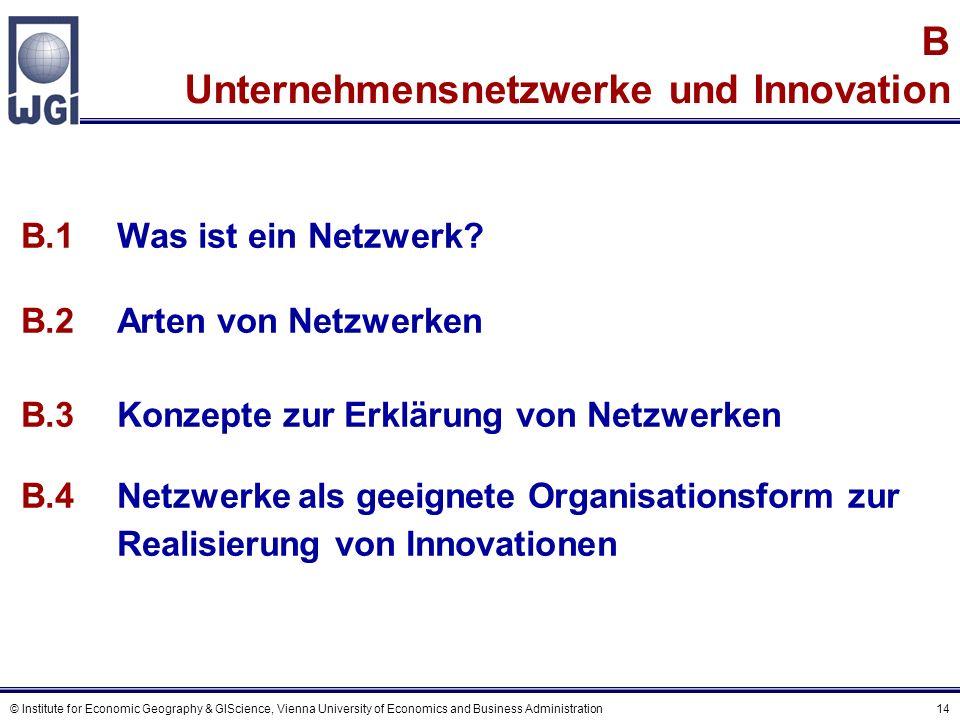 © Institute for Economic Geography & GIScience, Vienna University of Economics and Business Administration 14 B Unternehmensnetzwerke und Innovation B.1Was ist ein Netzwerk.