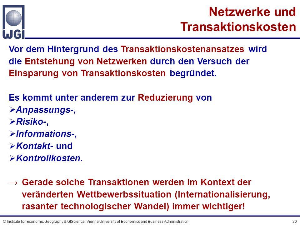© Institute for Economic Geography & GIScience, Vienna University of Economics and Business Administration 20 Netzwerke und Transaktionskosten Vor dem