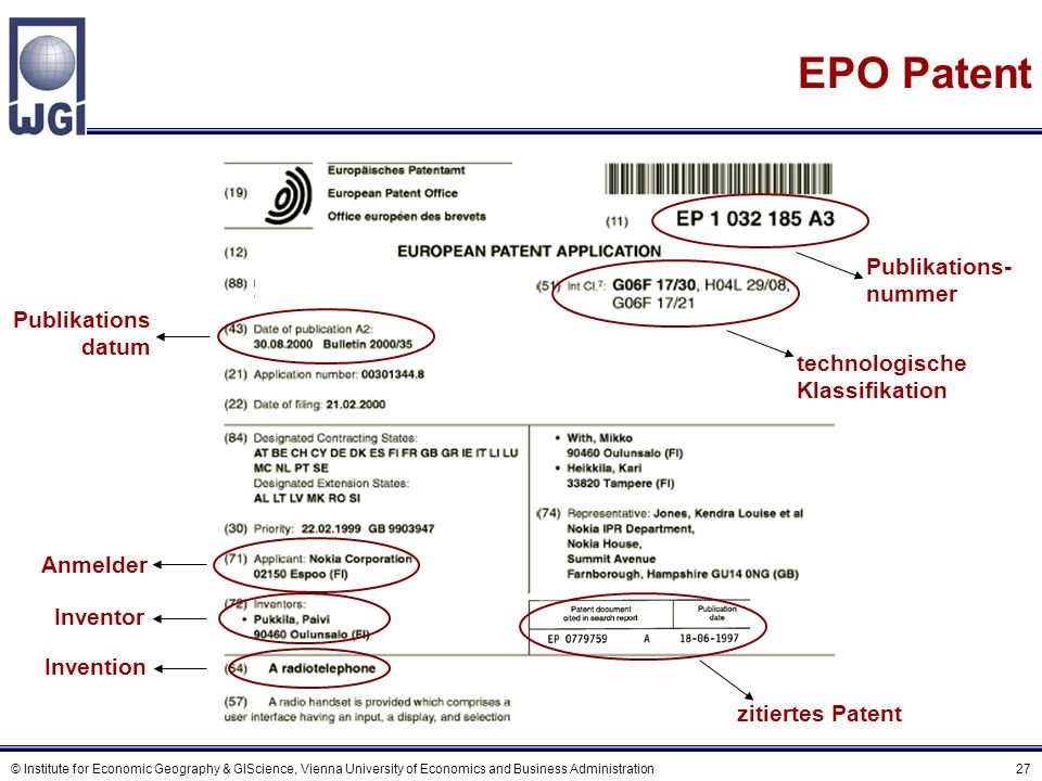 © Institute for Economic Geography & GIScience, Vienna University of Economics and Business Administration 27 EPO Patent Invention technologische Klas