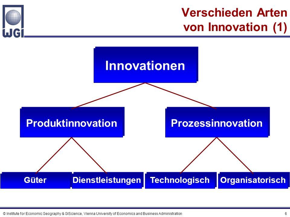 © Institute for Economic Geography & GIScience, Vienna University of Economics and Business Administration 47 Das Negativ-Binomial Modell Interregionaler Patentzitierungen mit wobei