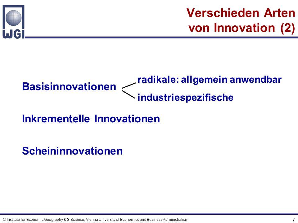 © Institute for Economic Geography & GIScience, Vienna University of Economics and Business Administration 7 Verschieden Arten von Innovation (2) Basi