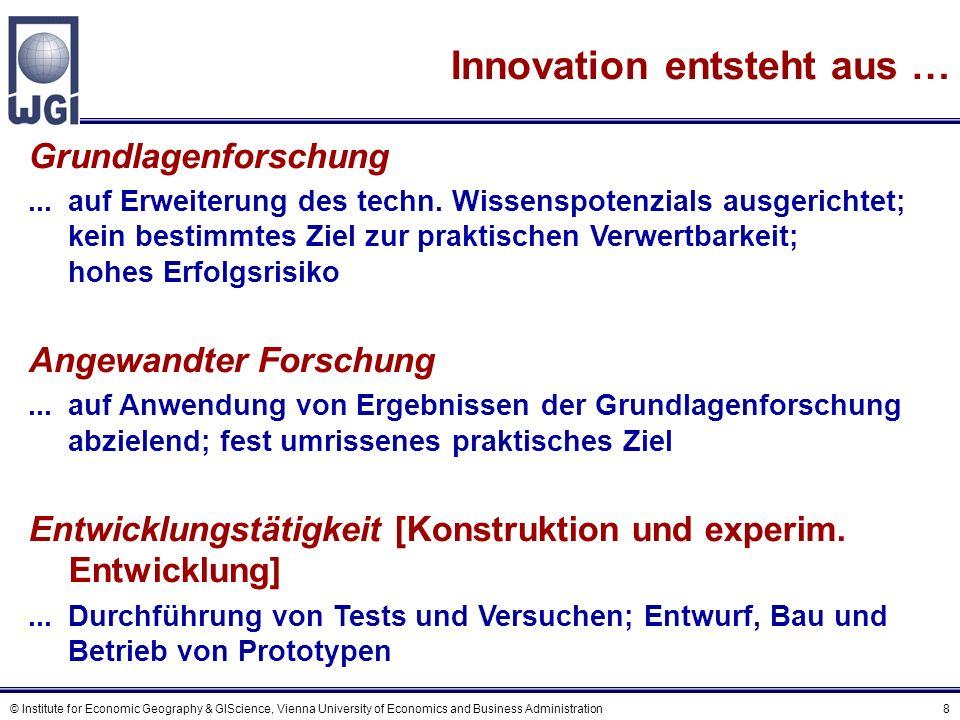 © Institute for Economic Geography & GIScience, Vienna University of Economics and Business Administration 9 Zum Innovationsprozess (1) Das lineare Modell Grundlagen- & angewandte Forschung Produkt- & Prozess- entwicklung Produktion Diffusion und Marketing