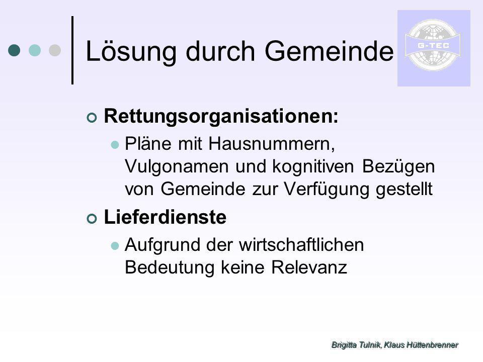 Brigitta Tulnik, Klaus Hüttenbrenner Lösung durch Gemeinde Rettungsorganisationen: Rettungsorganisationen: Pläne mit Hausnummern, Vulgonamen und kogni