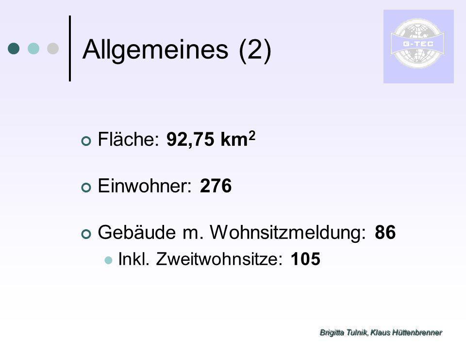 Brigitta Tulnik, Klaus Hüttenbrenner Allgemeines (2) 92,75 km 2 Fläche: 92,75 km 2 276 Einwohner: 276 86 Gebäude m. Wohnsitzmeldung: 86 105 Inkl. Zwei