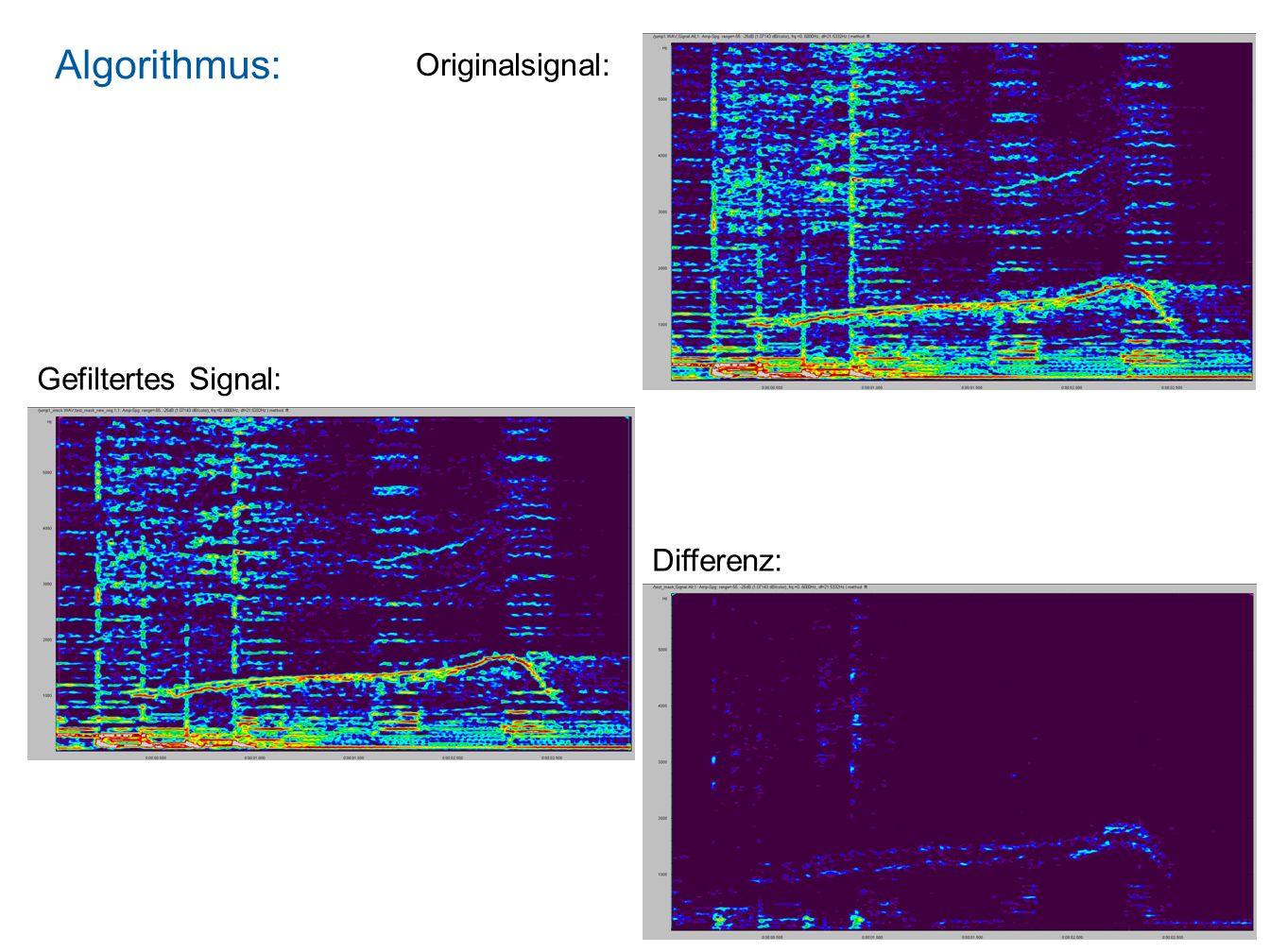 Algorithmus: Simples Anregungsmodell: Anwendung auf Spektrum: Summation (durch Faltung): Frequenz Amplitude