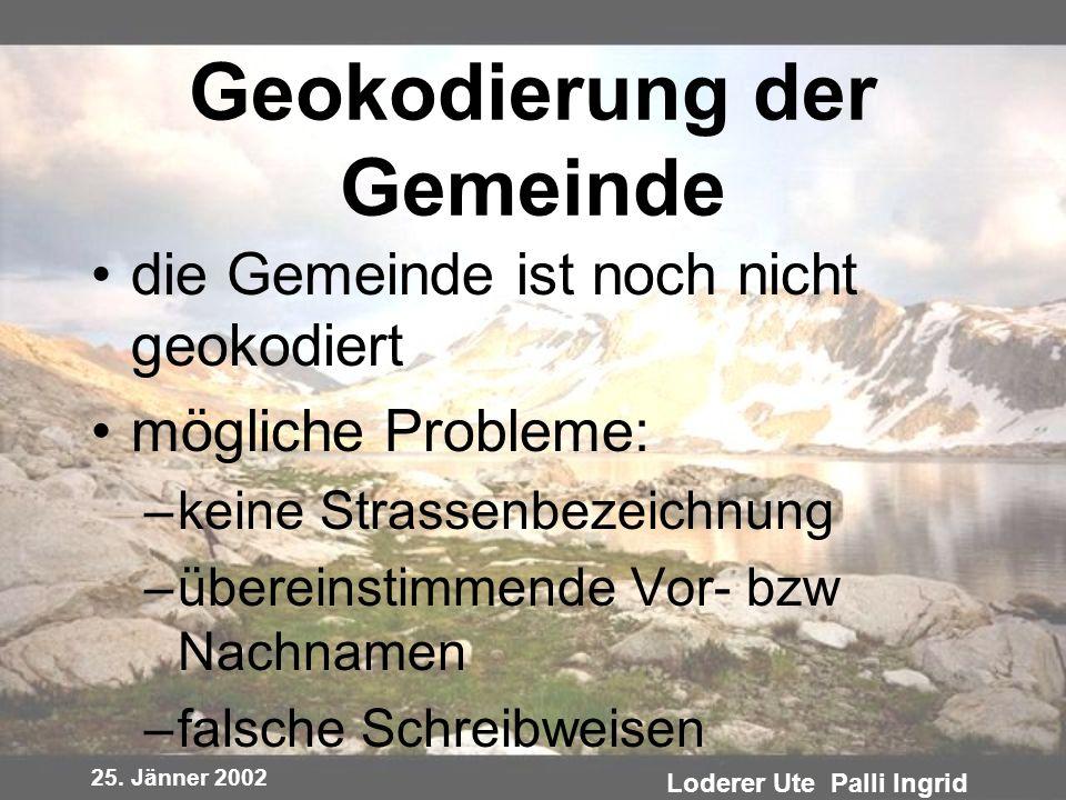 25. Jänner 2002 Loderer Ute Palli Ingrid Geokodierung der Gemeinde die Gemeinde ist noch nicht geokodiert mögliche Probleme: –keine Strassenbezeichnun