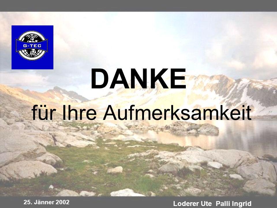 25. Jänner 2002 Loderer Ute Palli Ingrid DANKE für Ihre Aufmerksamkeit