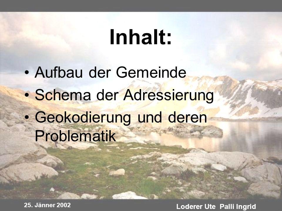 25. Jänner 2002 Loderer Ute Palli Ingrid Inhalt: Aufbau der Gemeinde Schema der Adressierung Geokodierung und deren Problematik