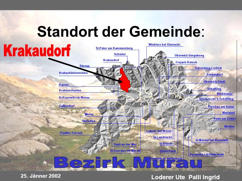 25. Jänner 2002 Loderer Ute Palli Ingrid Standort der Gemeinde: