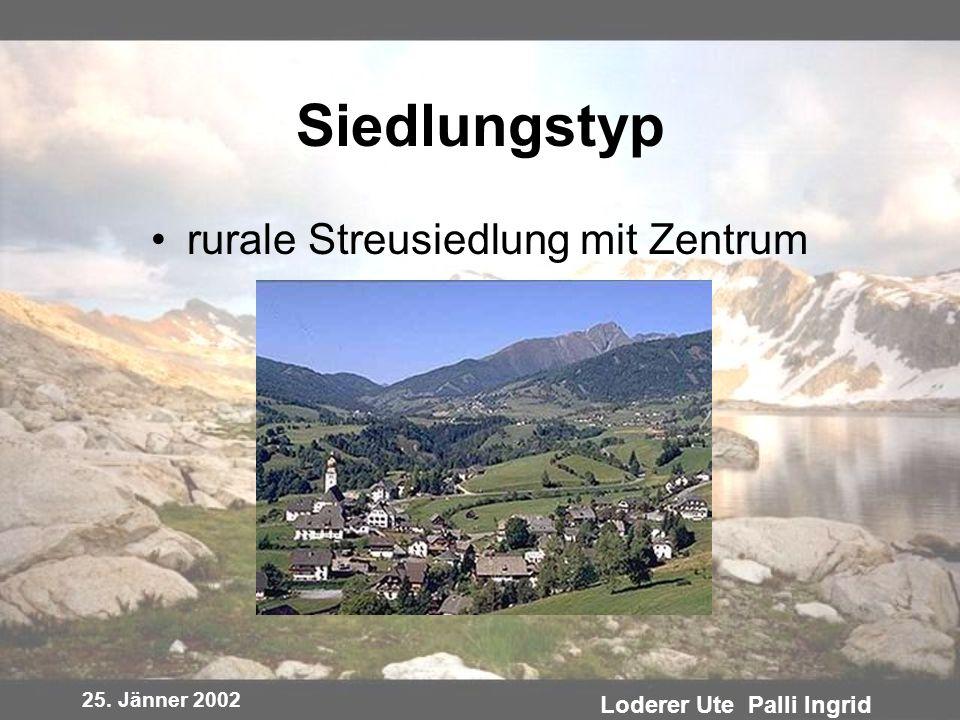 25. Jänner 2002 Loderer Ute Palli Ingrid Siedlungstyp rurale Streusiedlung mit Zentrum