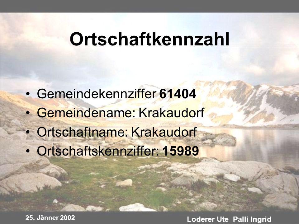 25. Jänner 2002 Loderer Ute Palli Ingrid Ortschaftkennzahl Gemeindekennziffer 61404 Gemeindename: Krakaudorf Ortschaftname: Krakaudorf Ortschaftskennz