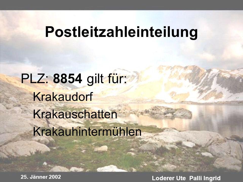 25. Jänner 2002 Loderer Ute Palli Ingrid Postleitzahleinteilung PLZ: 8854 gilt für: Krakaudorf Krakauschatten Krakauhintermühlen