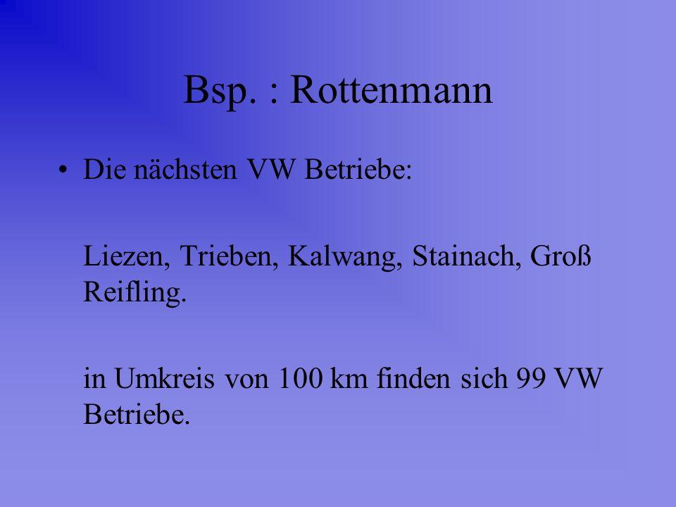 Bsp. : Rottenmann Die nächsten VW Betriebe: Liezen, Trieben, Kalwang, Stainach, Groß Reifling. in Umkreis von 100 km finden sich 99 VW Betriebe.