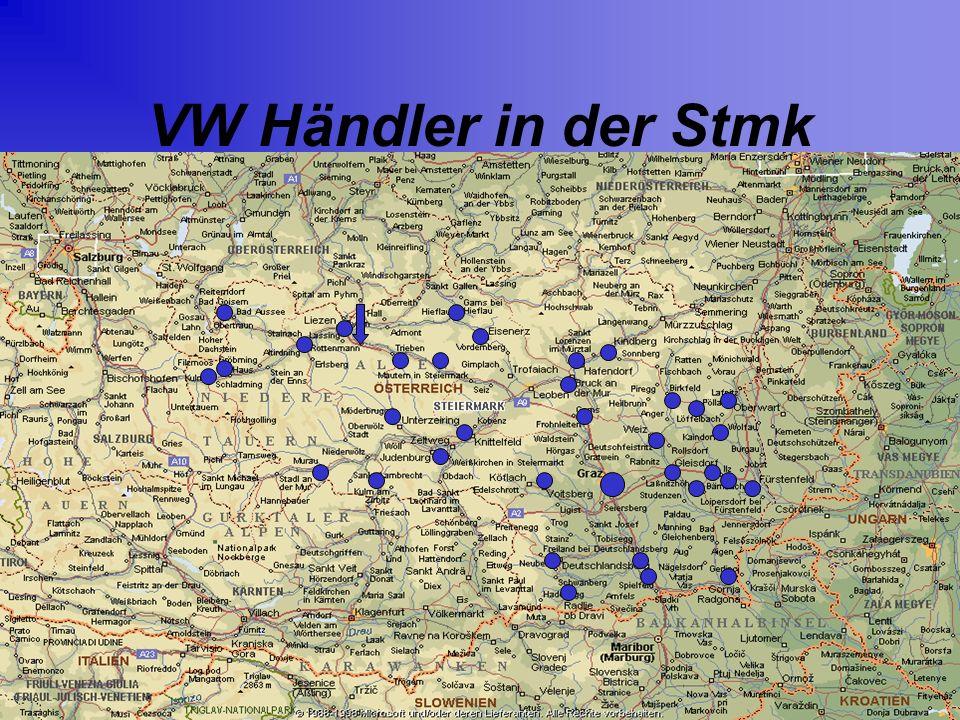 Thematik & Geometrie Bei den Standorten der VW Händler der Steiermark handelt es sich um ein objektbasierendes Modell Die Standorte sind als blaue Punkte in der Karte eingezeichnet, die Position der einzelnen Standorte läßt sich mit Hilfe von Koordinaten darstellen.