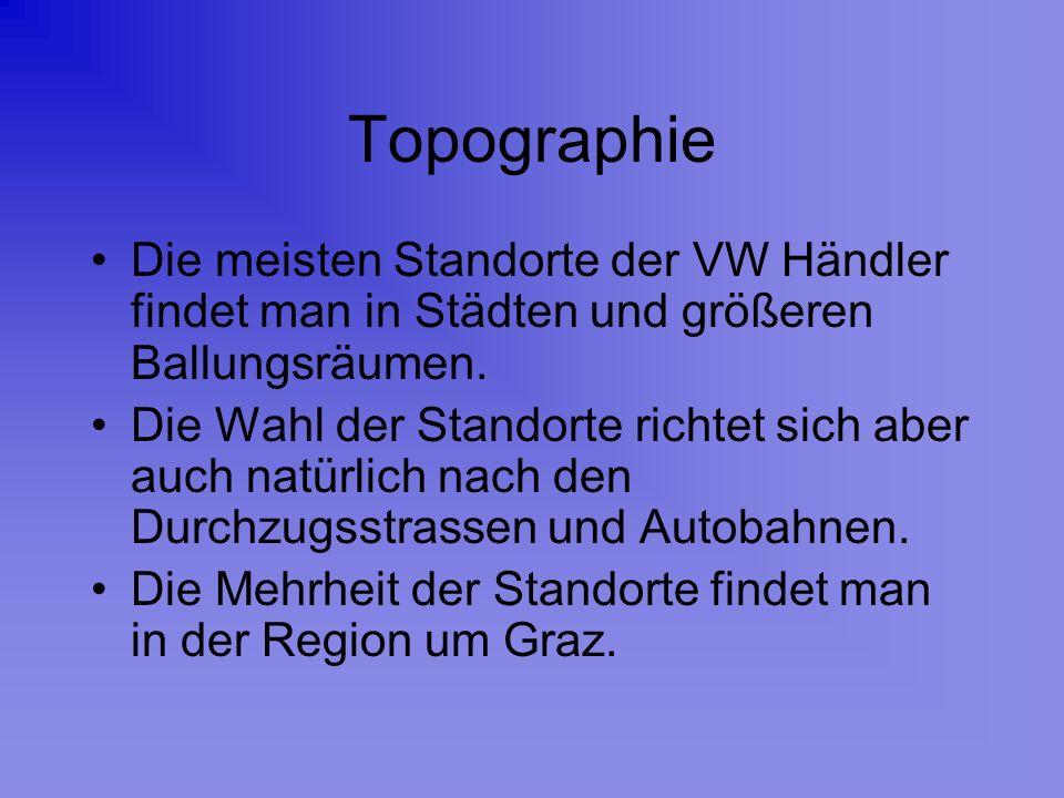Topographie Die meisten Standorte der VW Händler findet man in Städten und größeren Ballungsräumen. Die Wahl der Standorte richtet sich aber auch natü