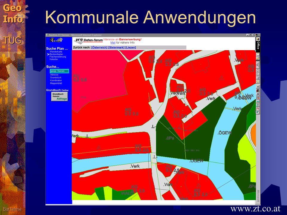 GeoInfoTUGBartelme GIS-Anwendungen Gemeinden, öffentliche Verwaltung: Kommunale Informationssysteme Versorgung und Entsorgung: Netze für Energie, Komm