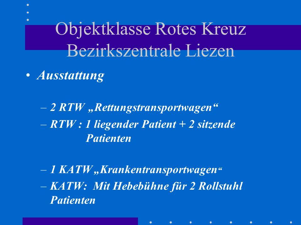 Objektklasse Rotes Kreuz Bezirkszentrale Liezen Ausstattung –2 RTW Rettungstransportwagen –RTW : 1 liegender Patient + 2 sitzende Patienten –1 KATW Krankentransportwagen –KATW: Mit Hebebühne für 2 Rollstuhl Patienten