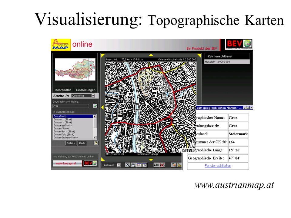 Visualisierung: Modelle Landschafts- modell: Relief Gebiete Gewässer Verkehr Vegetation Siedlung www.atkis.de