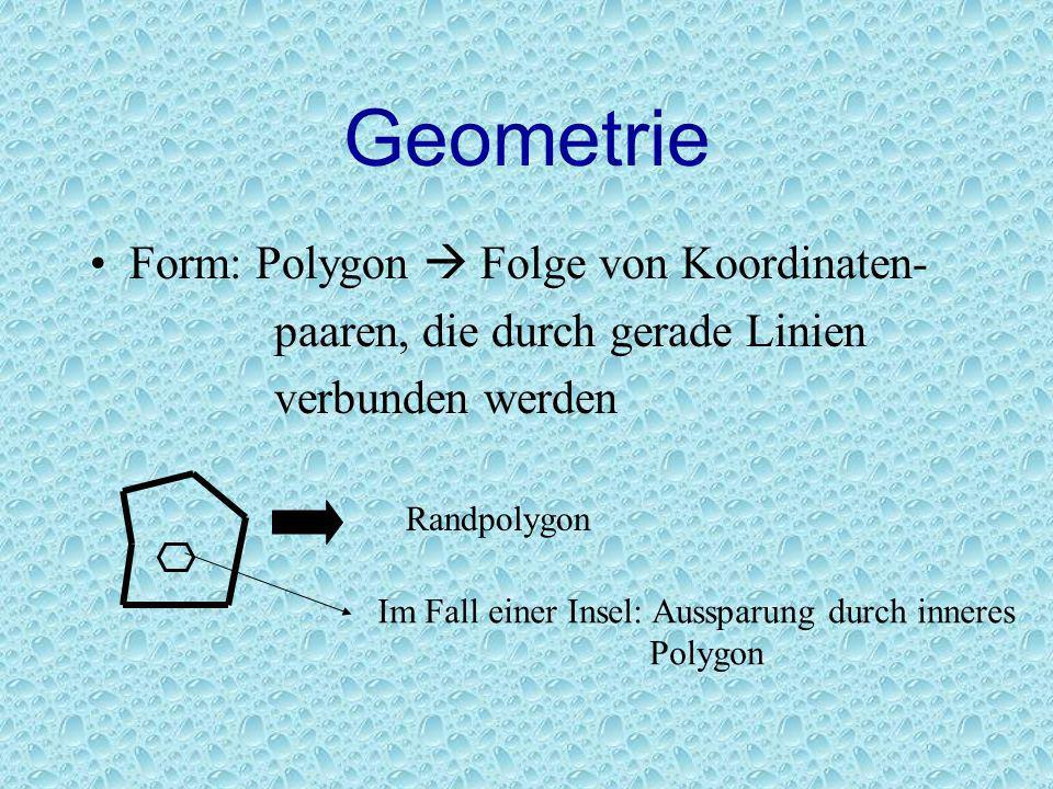 Geometrie Form: Polygon Folge von Koordinaten- paaren, die durch gerade Linien verbunden werden Randpolygon Im Fall einer Insel: Aussparung durch inne