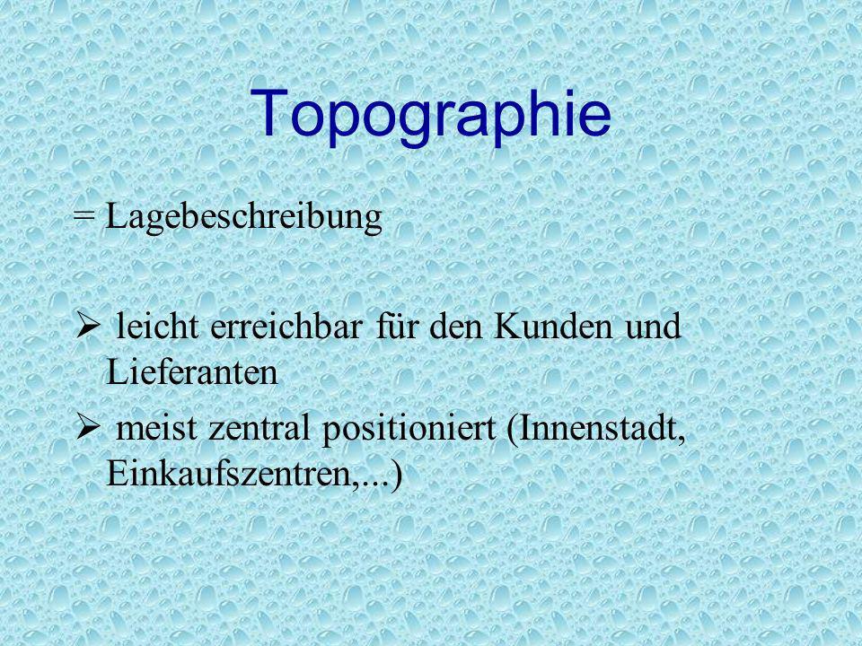 Topographie = Lagebeschreibung leicht erreichbar für den Kunden und Lieferanten meist zentral positioniert (Innenstadt, Einkaufszentren,...)