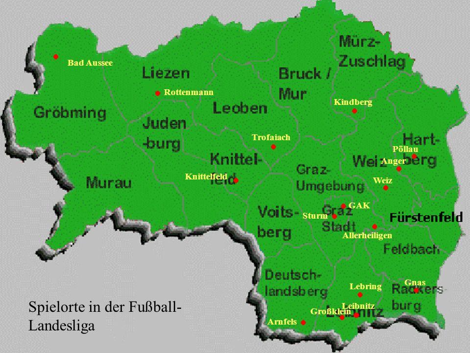 Topographie Die Topographie ist vor allem für die Fußballfans der Landesligavereine von Bedeutung.