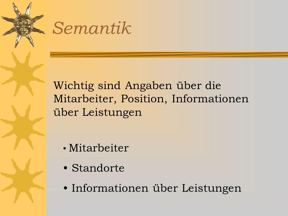 Semantik Die semantischen (inhaltlichen) Aspekte eines Objektes geben uns die inhaltlichen Daten, also die Informationen und Attribute unseres Objektes an.