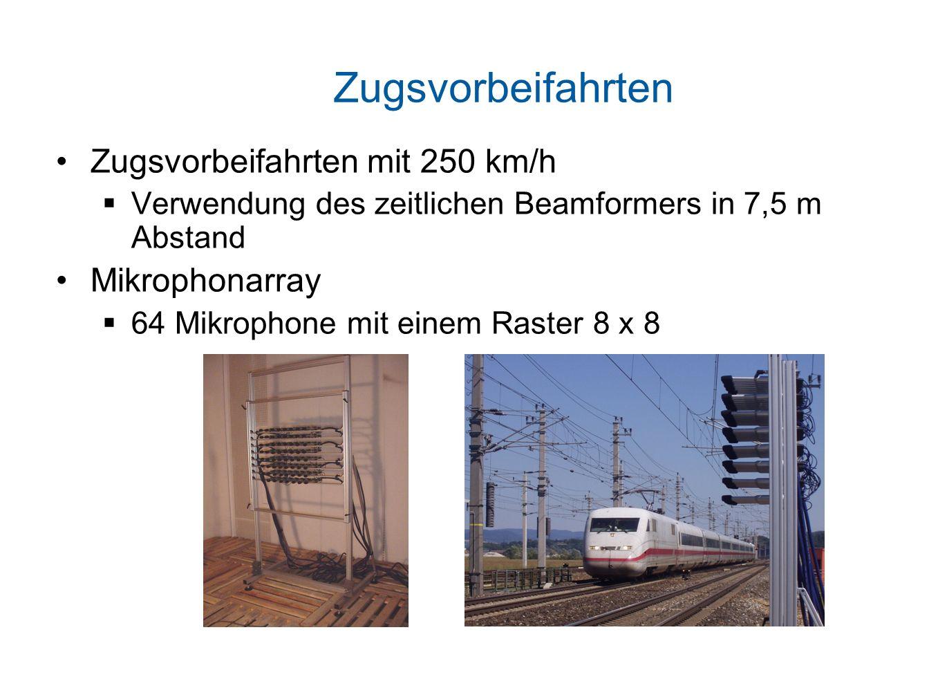Zugsvorbeifahrten Zugsvorbeifahrten mit 250 km/h Verwendung des zeitlichen Beamformers in 7,5 m Abstand Mikrophonarray 64 Mikrophone mit einem Raster 8 x 8