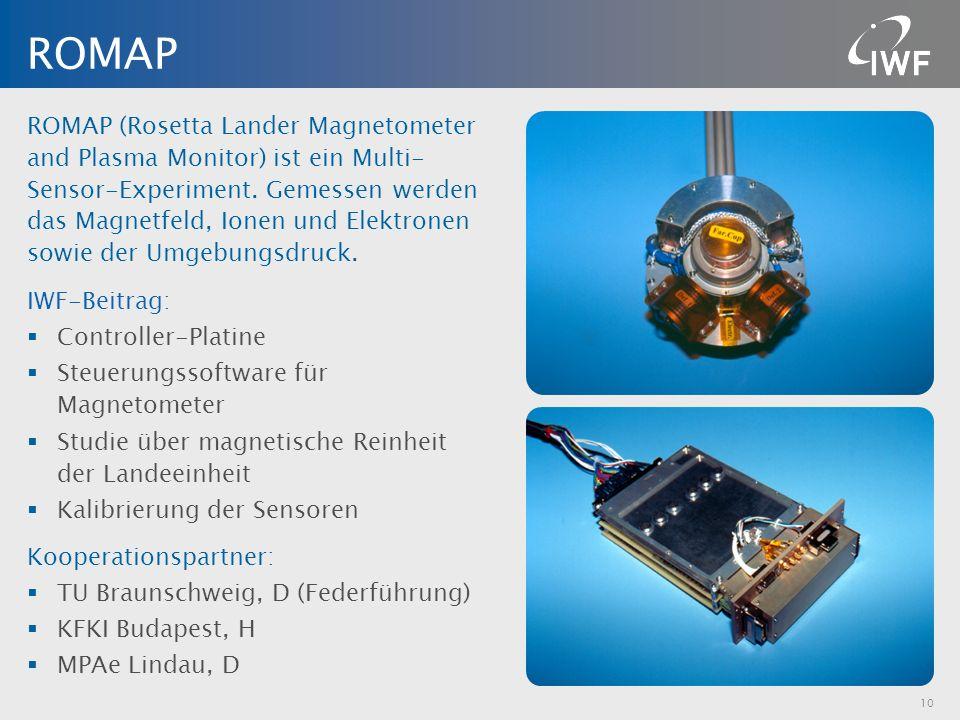 ROMAP (Rosetta Lander Magnetometer and Plasma Monitor) ist ein Multi- Sensor-Experiment. Gemessen werden das Magnetfeld, Ionen und Elektronen sowie de