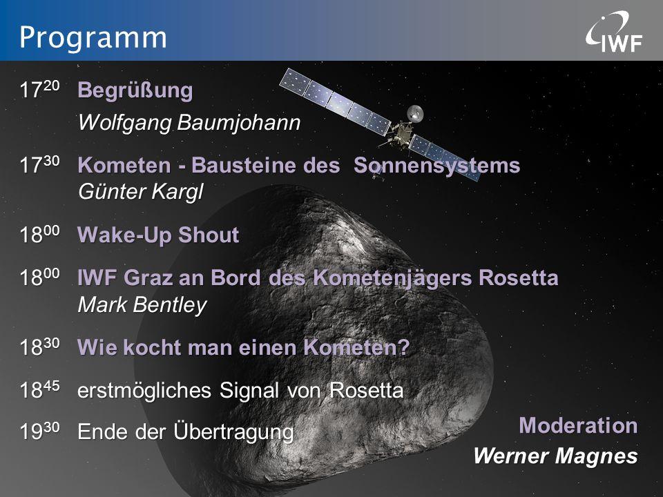 Programm 17 20 Begrüßung Wolfgang Baumjohann 17 30 Kometen - Bausteine des Sonnensystems Günter Kargl 18 00 Wake-Up Shout 18 00 IWF Graz an Bord des K