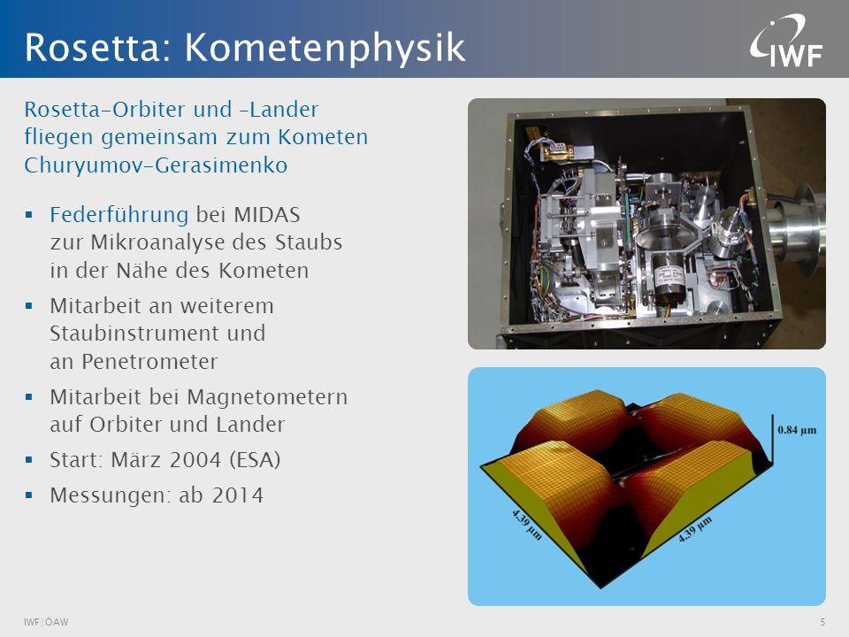Rosetta-Orbiter und –Lander fliegen gemeinsam zum Kometen Churyumov-Gerasimenko Federführung bei MIDAS zur Mikroanalyse des Staubs in der Nähe des Kom