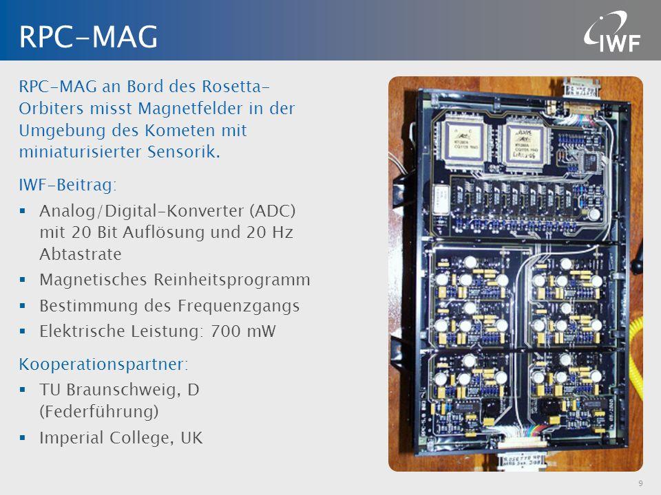 RPC-MAG an Bord des Rosetta- Orbiters misst Magnetfelder in der Umgebung des Kometen mit miniaturisierter Sensorik. IWF-Beitrag: Analog/Digital-Konver