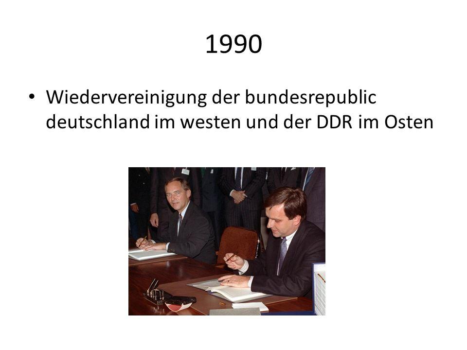 1990 Wiedervereinigung der bundesrepublic deutschland im westen und der DDR im Osten