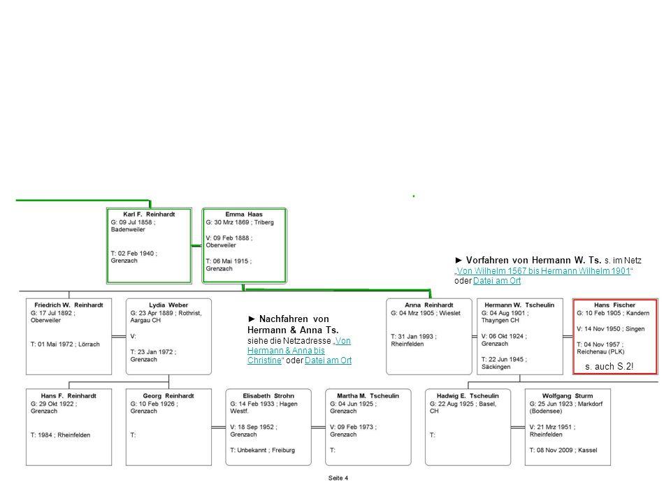 Vorfahren von Hermann W. Ts. s. im Netz Von Wilhelm 1567 bis Hermann Wilhelm 1901 oder Datei am OrtDatei am Ort Nachfahren von Hermann & Anna Ts. sieh