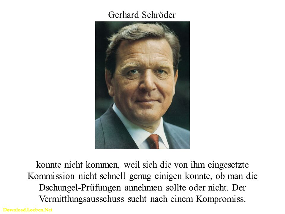 Download.Loeben.Net Gerhard Schröder konnte nicht kommen, weil sich die von ihm eingesetzte Kommission nicht schnell genug einigen konnte, ob man die Dschungel-Prüfungen annehmen sollte oder nicht.