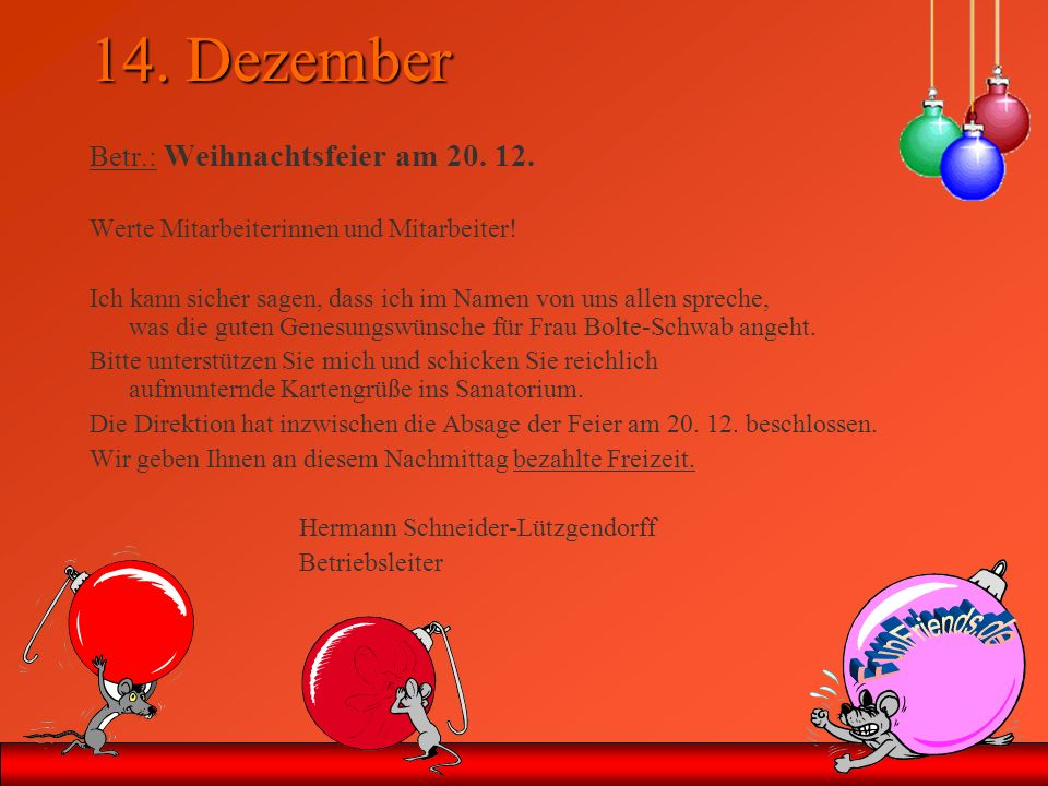 Na dann Frohes Fest.