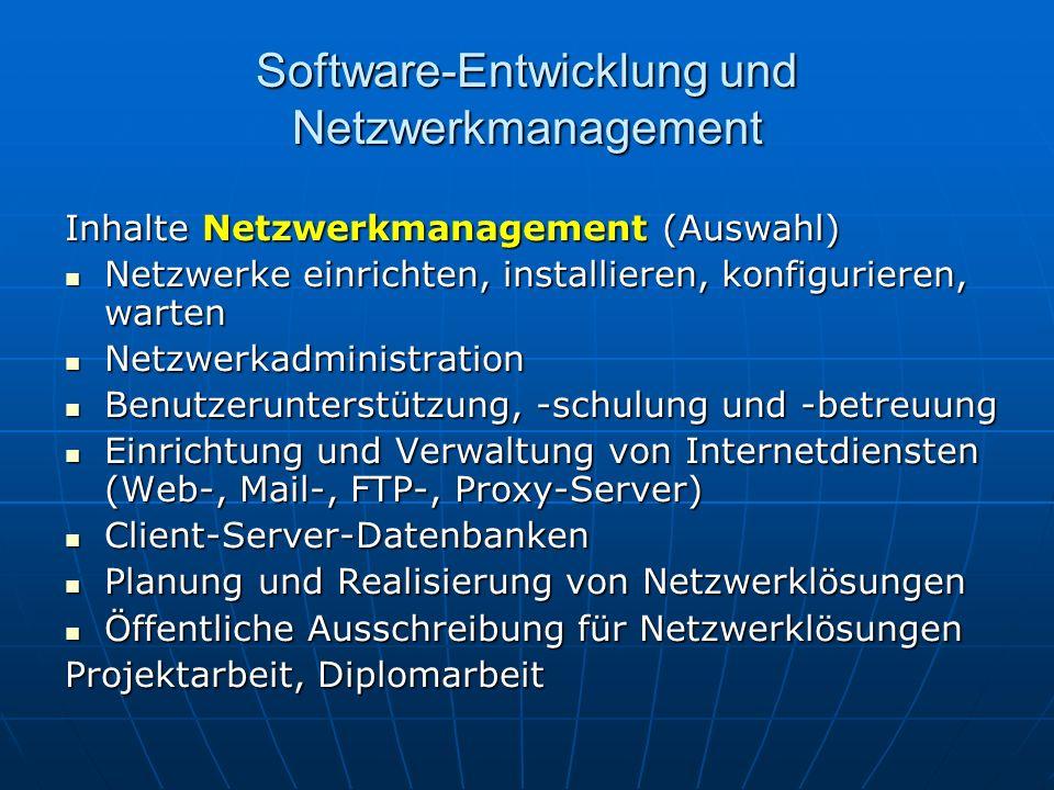 Software-Entwicklung und Netzwerkmanagement Inhalte Netzwerkmanagement (Auswahl) Netzwerke einrichten, installieren, konfigurieren, warten Netzwerke einrichten, installieren, konfigurieren, warten Netzwerkadministration Netzwerkadministration Benutzerunterstützung, -schulung und -betreuung Benutzerunterstützung, -schulung und -betreuung Einrichtung und Verwaltung von Internetdiensten (Web-, Mail-, FTP-, Proxy-Server) Einrichtung und Verwaltung von Internetdiensten (Web-, Mail-, FTP-, Proxy-Server) Client-Server-Datenbanken Client-Server-Datenbanken Planung und Realisierung von Netzwerklösungen Planung und Realisierung von Netzwerklösungen Öffentliche Ausschreibung für Netzwerklösungen Öffentliche Ausschreibung für Netzwerklösungen Projektarbeit, Diplomarbeit