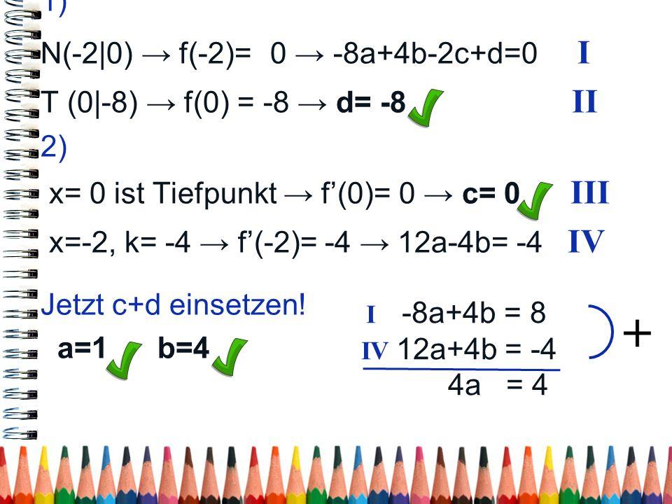 1) N(-2 0) f(-2)= 0 -8a+4b-2c+d=0 I T (0 -8) f(0) = -8 d= -8 II 2) x= 0 ist Tiefpunkt f(0)= 0 c= 0 III x=-2, k= -4 f(-2)= -4 12a-4b= -4 IV Jetzt c+d e