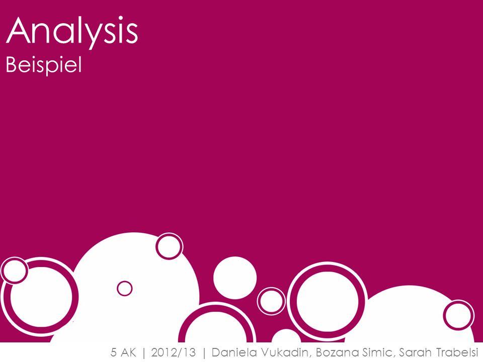 Analysis Beispiel 5 AK | 2012/13 | Daniela Vukadin, Bozana Simic, Sarah Trabelsi