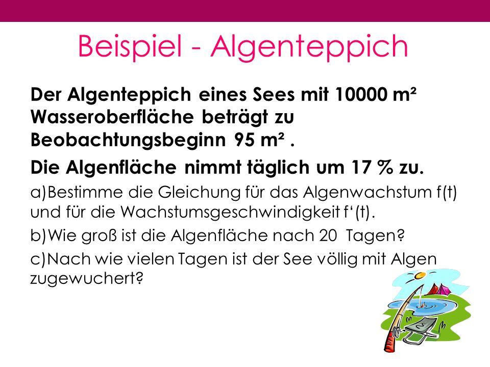 Beispiel - Algenteppich Der Algenteppich eines Sees mit 10000 m² Wasseroberfläche beträgt zu Beobachtungsbeginn 95 m².