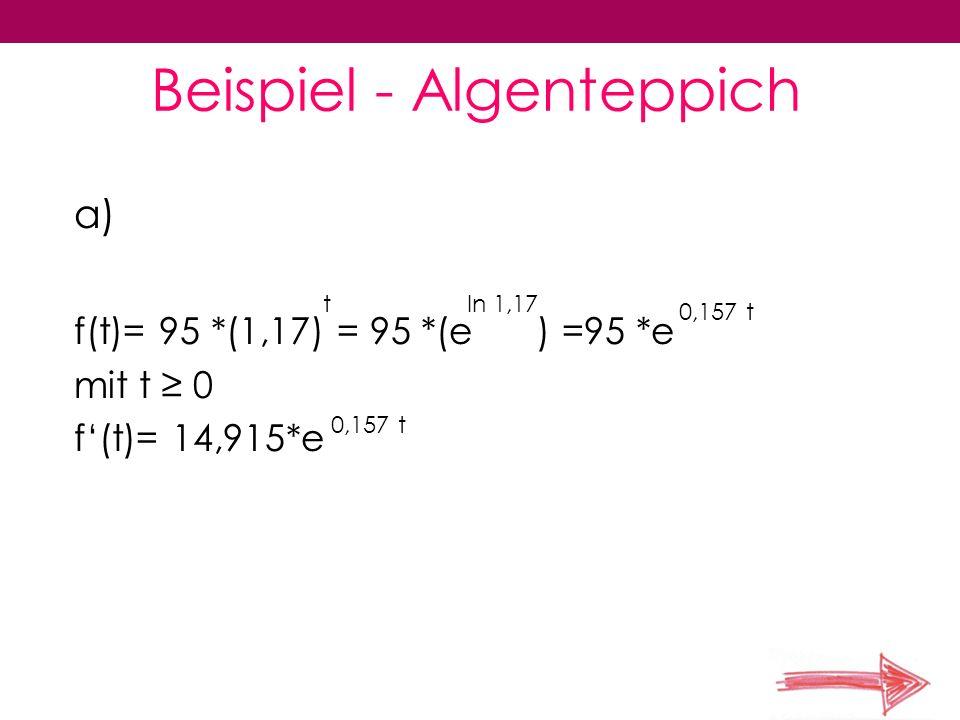 Beispiel - Algenteppich a) f(t)= 95 *(1,17) = 95 *(e ) =95 *e mit t 0 f(t)= 14,915*e tln 1,17 0,157 t