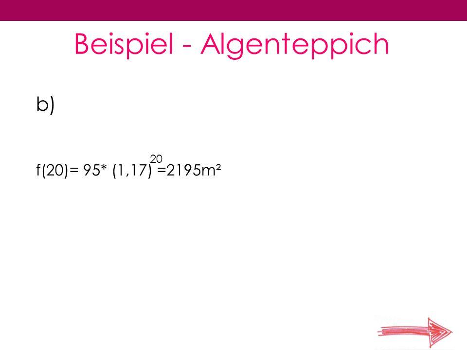 Beispiel - Algenteppich c) f(t)=10000 95*e =10000 0,157t